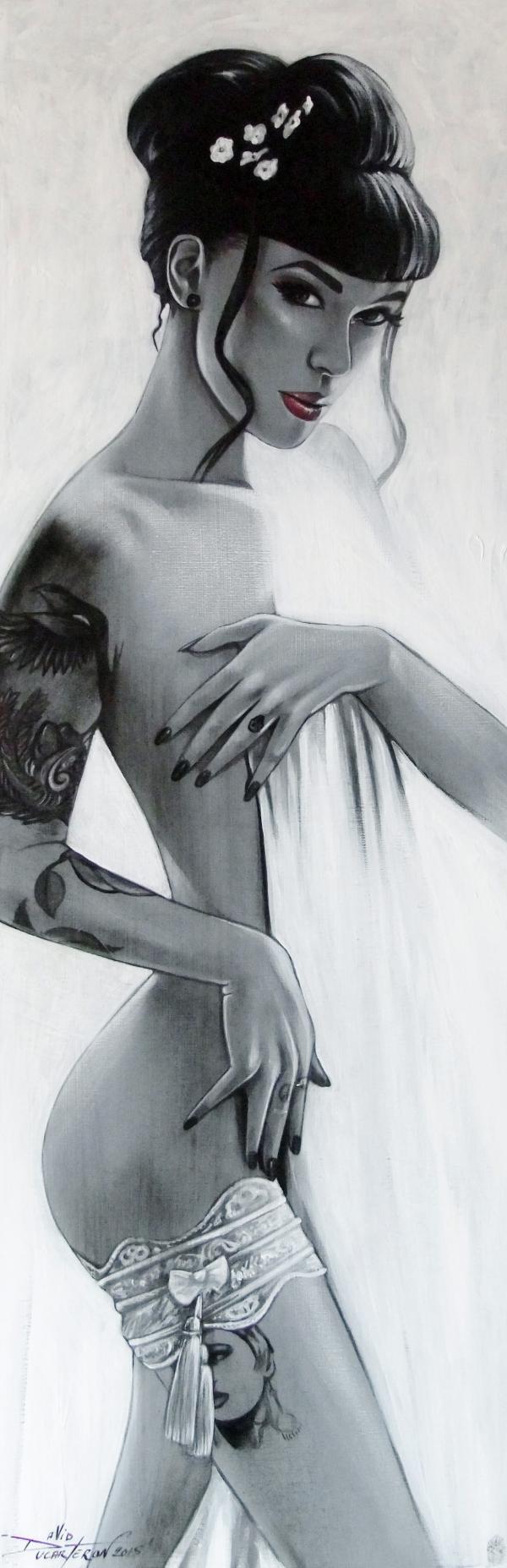 """""""La Jarretière"""" acrylique sur toile (30x80) 2015"""