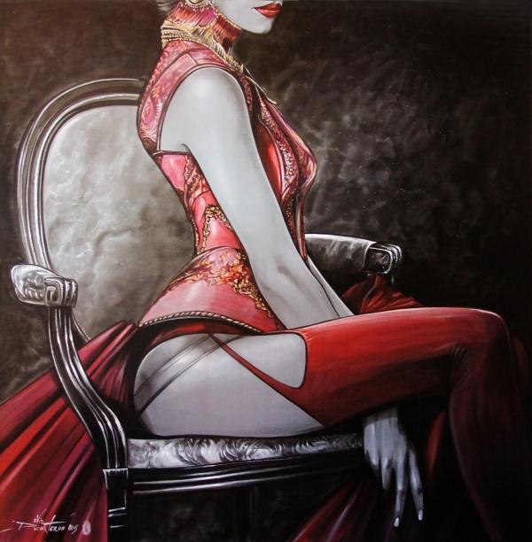 Fauteuil et bas rouge..(80x80) 2015 acrylique sur toile