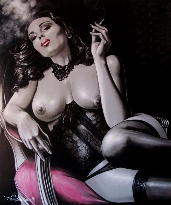 la fille a la cigarette (65x54) 2014